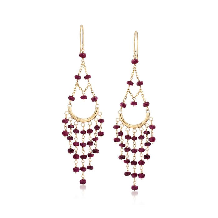 12.00 ct. t.w. Ruby Chandelier Earrings with 14kt Yellow Gold, , default