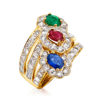 C. 1980 Vintage 2.47 ct. t.w. Diamond and 2.05 ct. t.w. Multi-Gemstone Cocktail Ring in 18kt Yellow Gold. Size 6
