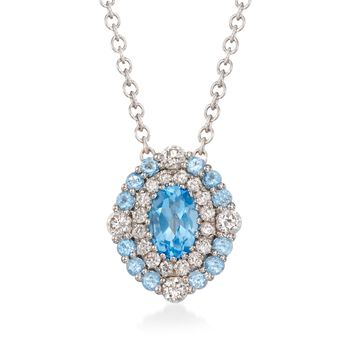 """Gregg Ruth .70 ct. t.w. Blue Topaz and .34 ct. t.w. Diamond Necklace in 18kt White Gold. 18"""", , default"""