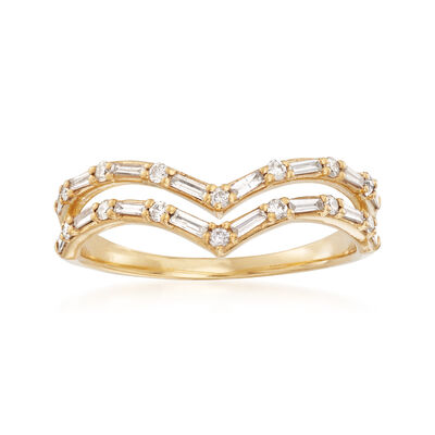 .33 ct. t.w. Diamond Double-Row Chevron Ring in 14kt Yellow Gold, , default