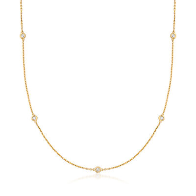 .50 ct. t.w. Bezel-Set Diamond Station Necklace in 18kt Gold Over Sterling, , default