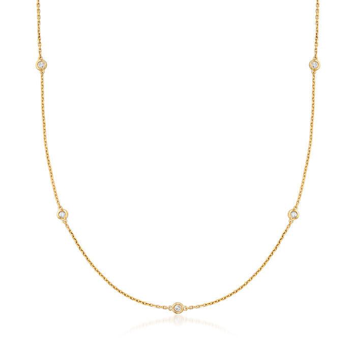 .50 ct. t.w. Bezel-Set Diamond Station Necklace in 18kt Gold Over Sterling