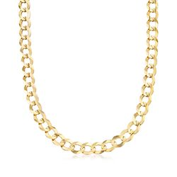 Men's 10mm 14kt Yellow Gold Faceted Curb-Link Chain Necklace, , default
