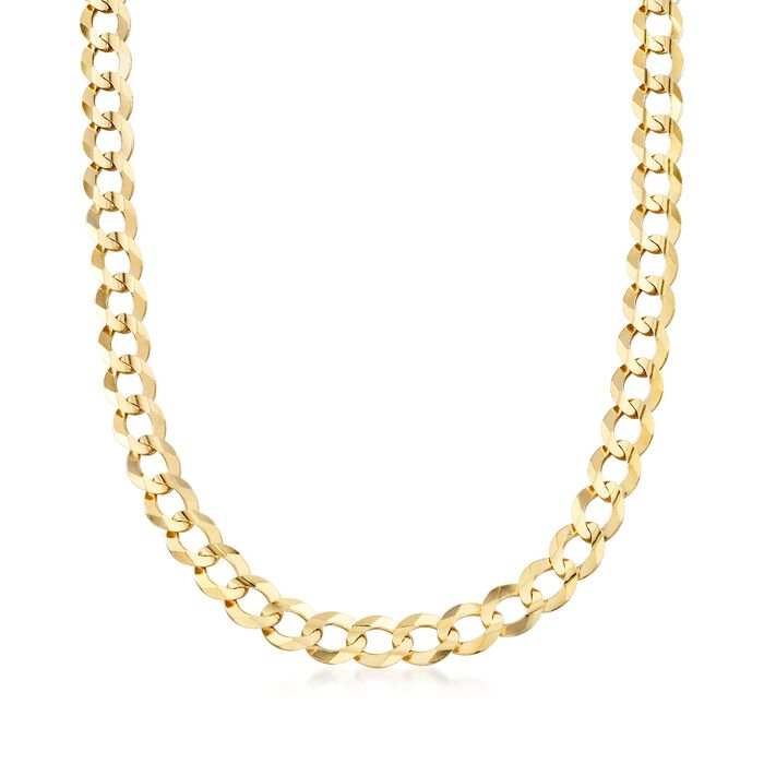 """Men's 10mm 14kt Yellow Gold Faceted Curb-Link Chain Necklace. 22"""", , default"""
