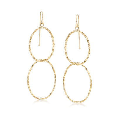 14kt Yellow Gold Double Interlocking Oval Drop Earrings, , default