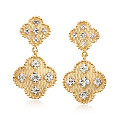 14kt Two-Tone Gold Quatrefoil Earrings , , default