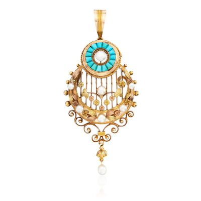 C. 1960 Vintage Turquoise and 3-5mm Cultured Pearl Pin Pendant in 18kt Tri-Tone Gold