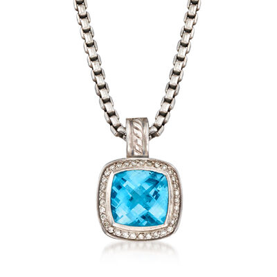 C. 1990 Vintage David Yurman 5.30 Carat Blue Topaz and .25 ct. t.w. Diamond Necklace in Sterling Silver, , default
