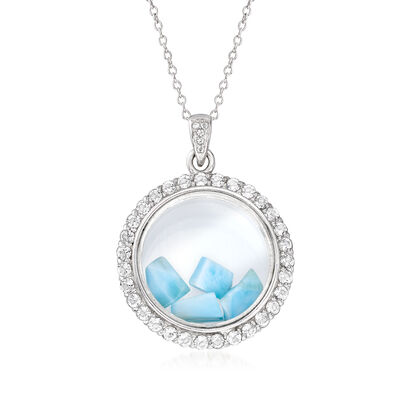Larimar and 1.70 ct. t.w. White Topaz Circle Pendant Necklace in Sterling Silver, , default