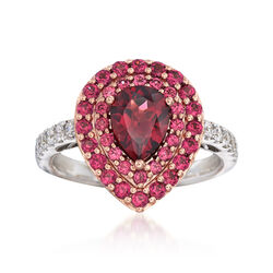 Gregg Ruth 2.40 ct. t.w. Purple Rhodolite Garnet and .27 ct. t.w. Diamond Ring in 18kt White Gold        , , default