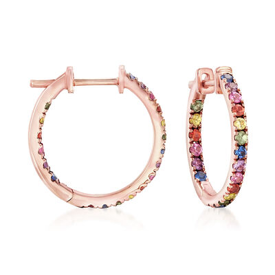.80 ct. t.w. Multicolored Sapphire Inside-Outside Hoop Earrings in 14kt Rose Gold, , default