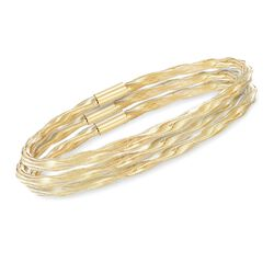 Italian Twisted Flex Jewelry Set: Three Bangle Bracelets With 14kt Yellow Gold, , default