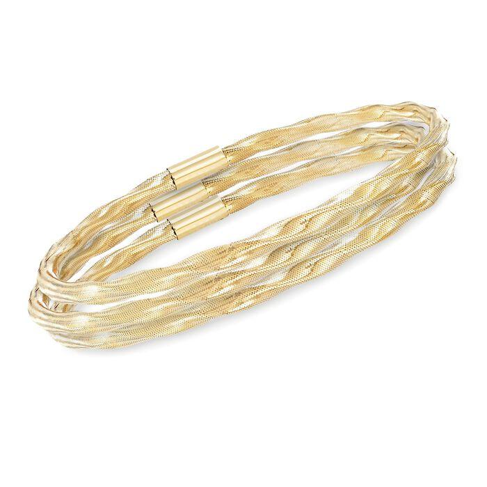 Italian Twisted Flex Jewelry Set: Three Bangle Bracelets With 14kt Yellow Gold, , default
