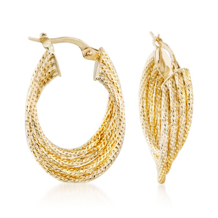 """Italian 14kt Yellow Gold Twist Hoop Earrings. 1 1/8"""", , default"""