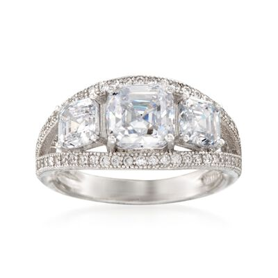 4.00 ct. t.w. CZ Three-Stone Ring in Sterling Silver, , default