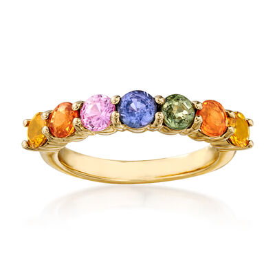 2.10 ct. t.w. Multicolored Sapphire Ring in 14kt Yellow Gold, , default