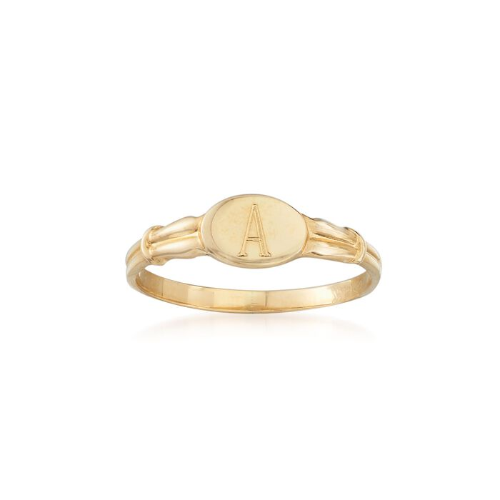 Child's 14kt Yellow Gold Single Initial Signet Ring. Size 3, , default