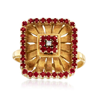 C. 1940 Vintage .80 ct. t.w. Ruby Cocktail Ring in 18kt Yellow Gold with a Diamond Accent, , default