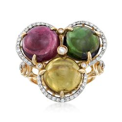 14.00 ct. t.w. Multicolored Tourmaline and .37 ct. t.w. Diamond Ring in 14kt Yellow Gold, , default