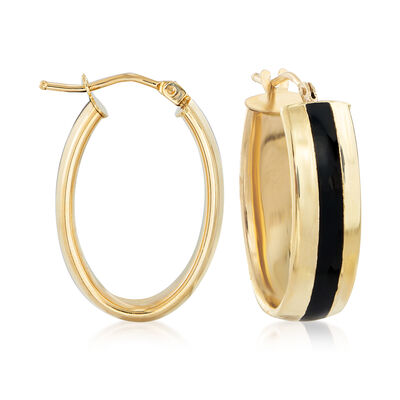 Italian 14kt Yellow Gold and Black Enamel Hoop Earrings, , default