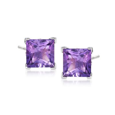 3.50 ct. t.w. Princess-Cut Amethyst Stud Earrings in Sterling Silver, , default