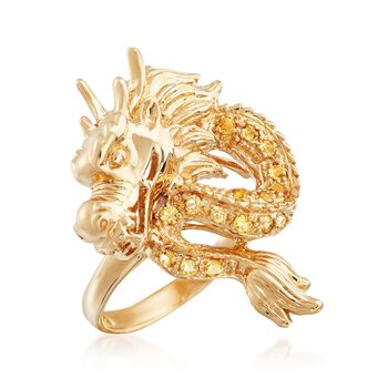 .30 ct. t.w. Citrine Dragon Ring in 14kt Yellow Gold, , default