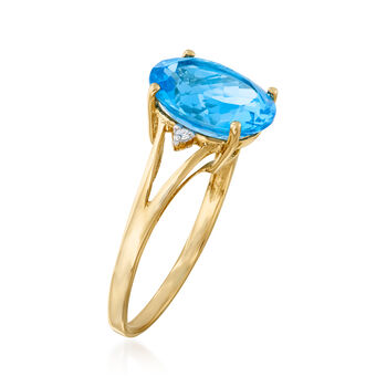 5.50 Carat Swiss Blue Topaz Ring with Diamond Accents in 14kt Yellow Gold