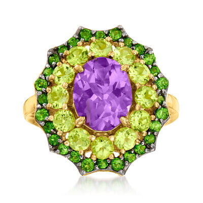 3.10 Carat Amethyst and 1.40 ct. t.w. Peridot Ring with .40 ct. t.w. Green Chrome Diopside in 18kt Gold Over Sterling