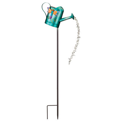 Regal Watering can Dragonfly Solar Garden Stake, , default