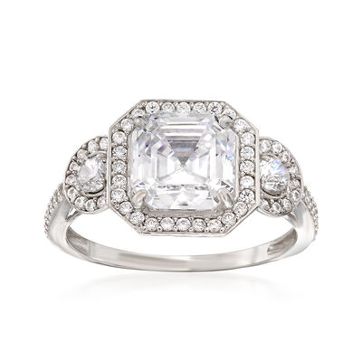 3.60 ct. t.w. Asscher and Round-Cut CZ Ring in Sterling Silver, , default