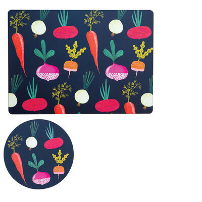 Root Veggies Set of 4 Placemats and Coasters