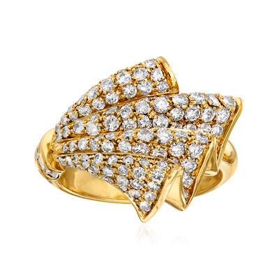 C. 1980 Vintage 2.00 ct. t.w. Diamond Fan Ring in 18kt Yellow Gold