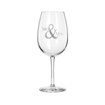 """""""Mr. & Mrs."""" Set of 2 Wine Glasses, , default"""