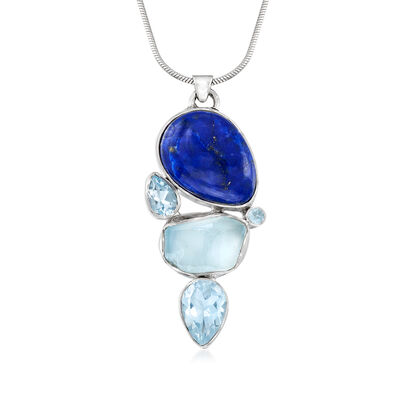 Lapis and 10.05 ct. t.w. Sky Blue Topaz Pendant Necklace in Sterling Silver