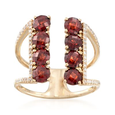 2.60 ct. t.w. Garnet and .18 ct. t.w. Diamond Open Space Ring in 14kt Yellow Gold, , default