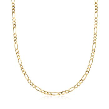 """Men's 4.5mm 14kt Yellow Gold Figaro-Link Chain Necklace. 20"""", , default"""