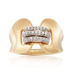 .15 ct. t.w. Diamond Corset Ring in Two-Tone Sterling Silver. Size 7, , default