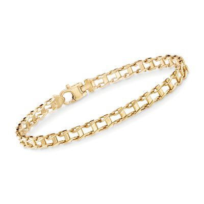 Men's 5.5mm 14kt Yellow Gold Railroad-Link Bracelet