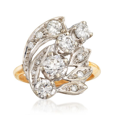 C. 1980 Vintage 1.20 ct. t.w. Diamond Cluster Ring in 14kt Two-Tone Gold, , default