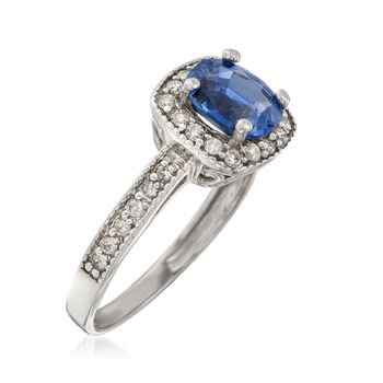 C. 2000 Vintage 1.40 Carat Sapphire and .30 ct. t.w. Diamond Halo Ring in 14kt White Gold. Size 6.5, , default