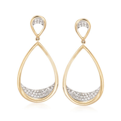 .26 ct. t.w. Pave Diamond Teardrop Earrings in 14kt Yellow Gold, , default