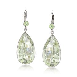 30.00 ct. t.w. Green Amethyst and 1.00 ct. t.w. Peridot Drop Earrings in Sterling Silver, , default