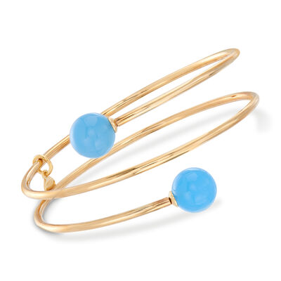 Italian 18kt Gold Over Sterling Coil Wrap Bangle Bracelet With Blue Chalcedony Beads, , default