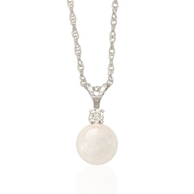 6-6.5mm Cultured Akoya Pearl and Diamond Accent Necklace in 14kt White Gold, , default