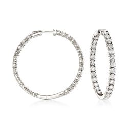 "10.00 ct. t.w. Diamond Inside-Outside Hoop Earrings in 14kt White Gold. 1 5/8"", , default"