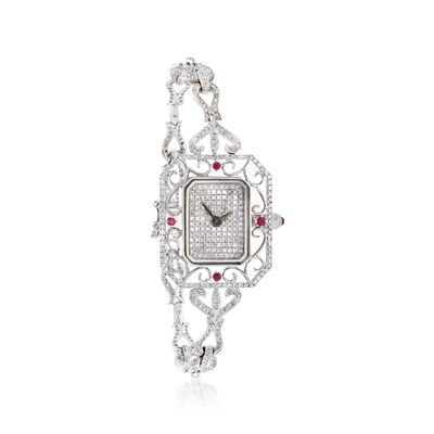 Women's 28x24mm 1.85 ct. t.w. Diamond and .19 ct. t.w. Ruby Watch in 18kt White Gold, , default