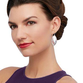 Pink Mother-Of-Pearl Slice Drop Earrings in Sterling Silver, , default