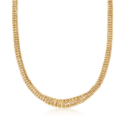 Italian Americana Link Graduated Necklace in 14kt Yellow Gold, , default