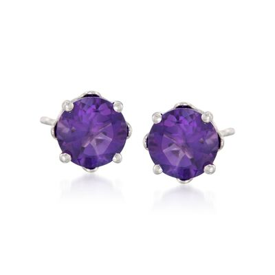 .90 ct. t.w. Round Amethyst Earrings with Teacup Settings in Sterling Silver, , default