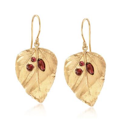 1.40 ct. t.w. Garnet Leaf Drop Earrings in 18kt Gold Over Sterling, , default